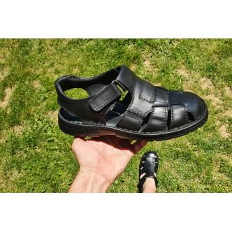 Sandale Piele Naturala Inchise Fata Barbatesti 01342 Negru