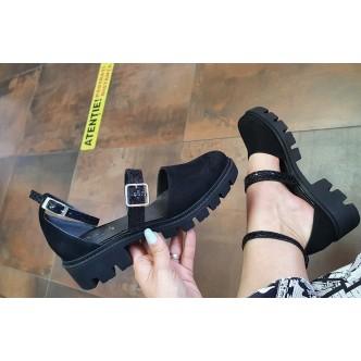 Sandale din Piele Naturala 081 Negru velur