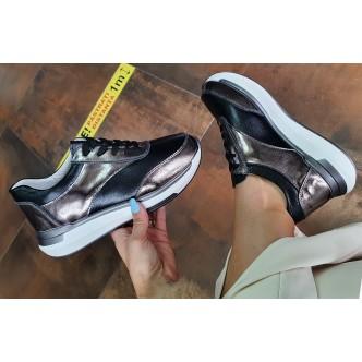 Pantofi din Piele Naturala Angela 553 Negru Gun