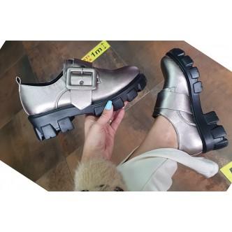 Pantofi din Piele Ecologica Gina 445 Negru si Gun