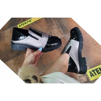 Pantofi Din Piele Ecologica 447Ania negru fermoar