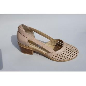 Pantofi Piele Naturala Angel 521 Negru si Somon