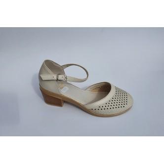 Pantofi Piele Naturala Angel 523 Negru si  Bej