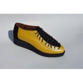 Pantofi Piele Siret Varf Naturala 076 Galben